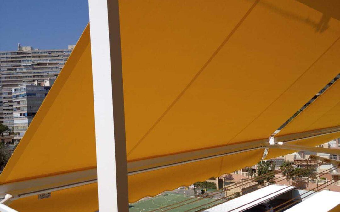 Toldos punto recto en Playa de San Juan Alicante